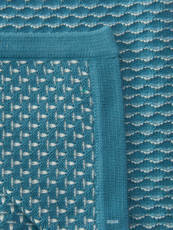 Sefte Living - Sefte Una Baby Blanket Aqua - Wrap your baby in the very best in organic materials, with this woven 100 percent cotton blanket. When your little one is swaddled up in this gorgeous blanket, everyone will feel secure. The refined, double-sided design of this blanket means it will look great on the side of the crib or over the back of the rocking chair, any time it is not in use.
