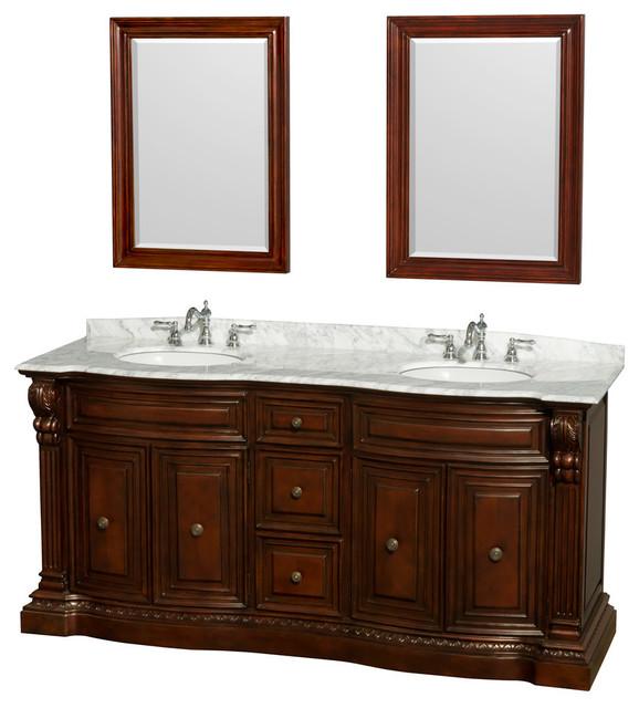 72 double bathroom vanity in cherry countertop for Oval mirrors for bathroom vanities