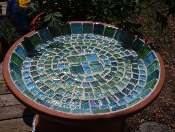 Sea Glass And Terra Cotta Bird Baths And Feeders By Necegirl eclectic-bird-baths