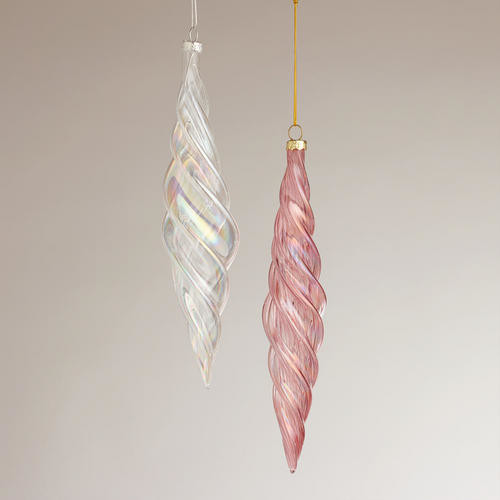 Christmas Decorations Icicle Ornaments: Optic Glass Icicle Ornaments