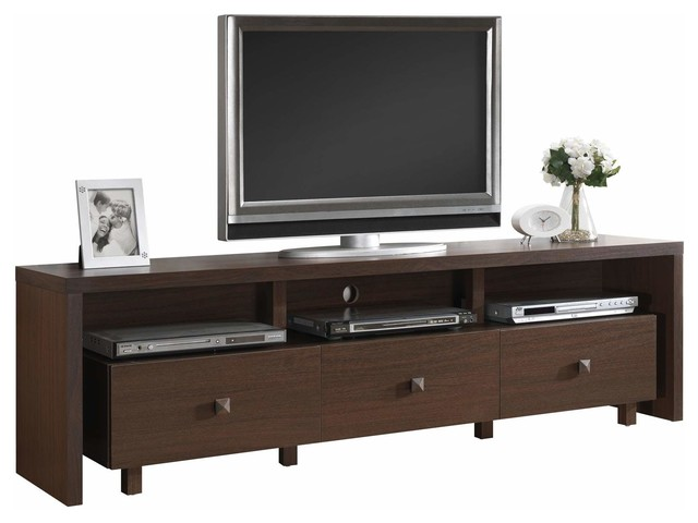 Techni Mobili 70 Inch TV Stand W 3 Drawer In Hickory