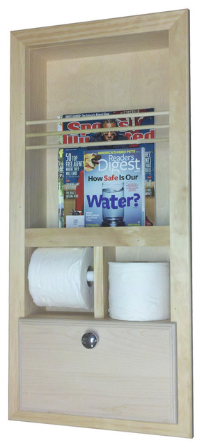 In the wall magazine rack with double toilet paper and storage cubby contemporary magazine for Recessed in the wall bathroom magazine rack