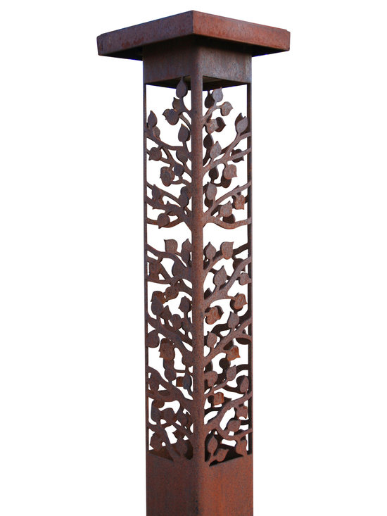 """Attraction Lights - Bollard Light- Aspen- Decorative steel light fixture, 42"""" - The 6 x 6 Bollard light is 42""""  tall and is perfect for illuminating steps and entryways and it also makes a great piece of functional steel art or sculpture for your back yard by the patio or within perennial flower beds.  If your tired of the same old boring path lights and are ready for something unique and different,  these sculptural steel pieces really make a statement.  Anchored on a concrete footing, not even the biggest dog will not knock them over.  Standard 12 volt lighting that can be modified to 120 volt. The lights come standard with a 2700k (warm white color) LED light bulb.  This particular pattern is from our Aspen series and is perfect for cabins and woodsy settings."""