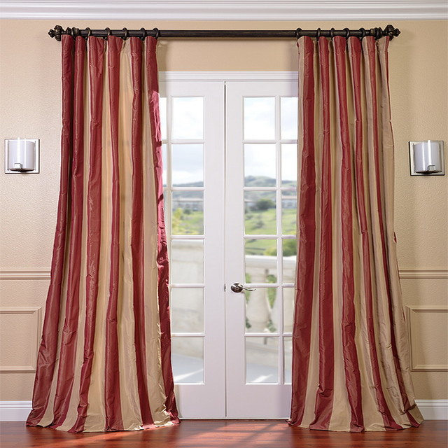 Red/ Golden Tan Striped Faux Silk Taffeta Curtain Panel - Contemporary - Curtains - by Overstock.com