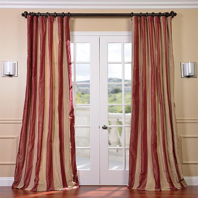 Red/ Golden Tan Striped Faux Silk Taffeta Curtain Panel