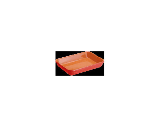 "Terracotta Rectangular Baker 12.5"" x 10"" Available in 2 Colors - This multi purpose rectangular baker with it's easy clean ""crystalline"" finish and heat retaining terracotta are exceptional in form and in function."