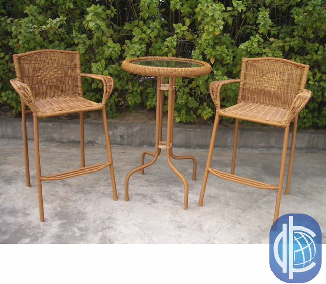 International Caravan Resin Wicker Outdoor 3 Piece Bar Height Bistro Set Co