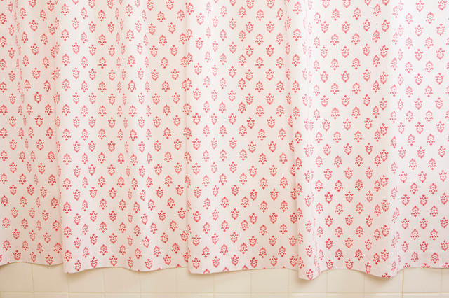 Pink Fabric Shower Curtains Tropical Bath Products Other Metro By Attiser