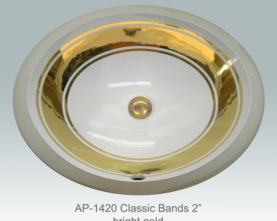 "Hand Painted Gold & Patinum Undermounts by Atlantis Porcelain Art - ""CLASSIC BANDS 2"" w/2 LINES"" Shown on AP-1420 white Monaco Medium undermount 17-1/4""x14-1/4""available on burnished gold or platinum and bright gold or platinum on any of our sinks."