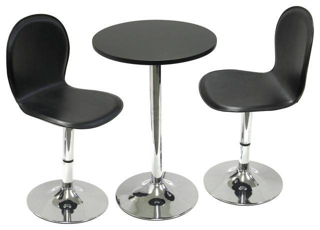 Spectrum 3 Piece Set 20 Round Table With 2 Swivel Faux Leather Chairs