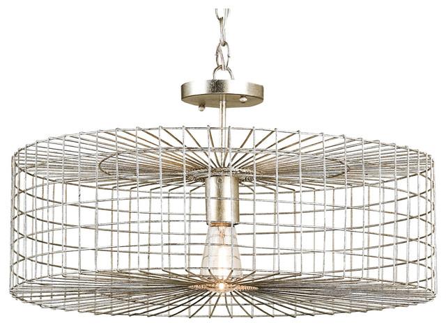 Industrial Loft Silver Leaf Iron Cage Flush Mount Pendant Light transitional-pendant-lighting