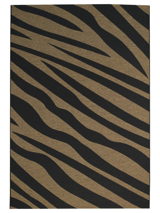 Wildlife Zebra rug in Black - Safari style - modern, bold and sleek. Wildlife adds a contemporary vibe to any space, indoors or out.