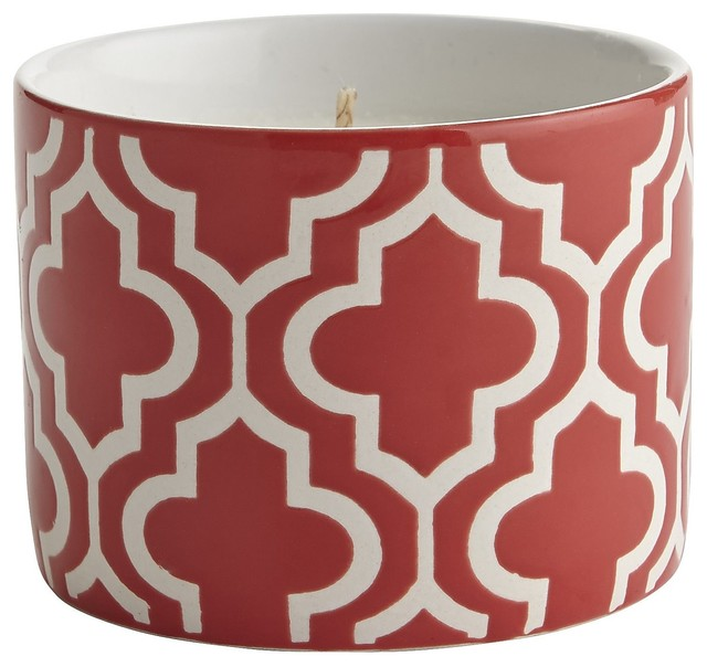 Citronella-Filled Tile Candle, Red contemporary-candles