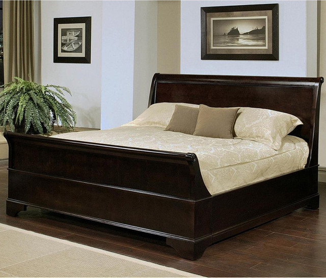 abbyson living kingston espresso sleigh queen size bed