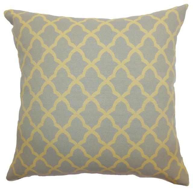 "Rametta Moorish Tile Pillow Grey Yellow 18"" x 18"" traditional-decorative-pillows"