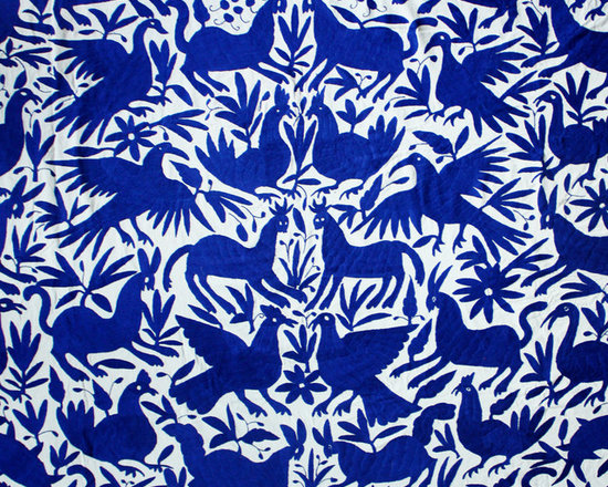 Mexican Otomi Fabric - such a gorgeous pattern and color. you can't go wrong with this hand-embroidered mexican coverlet hung on the wall, draped over the couch or on the bed.