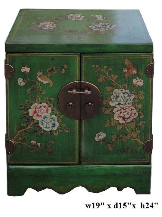 Green Lacquer Flower Scenery End Table Nightstand - This small end table has been painted with green rustic lacquer base color and graphic of flower on the doors. The table top is a the peony flower representing fortune and prosperity.