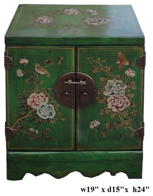 Green Lacquer Flower Scenery End Table Nightstand asian-furniture