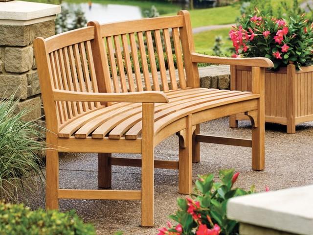 Oxford garden essex 7 39 curved bench english planter for Outdoor furniture essex