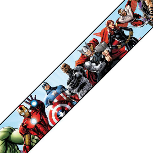 Marvel Avengers Prepasted Wall Border Comic Book Accent - Contemporary - Wall Decals - by oBedding