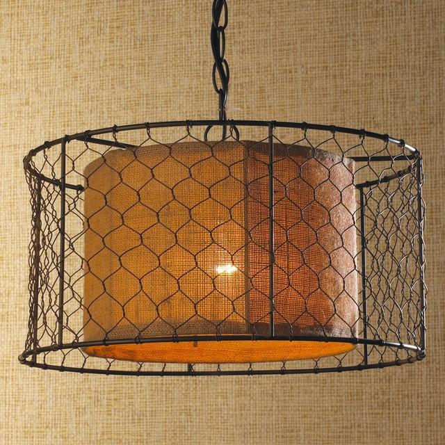 Chicken wire with burlap drum pendant pendant lighting for Burlap lights