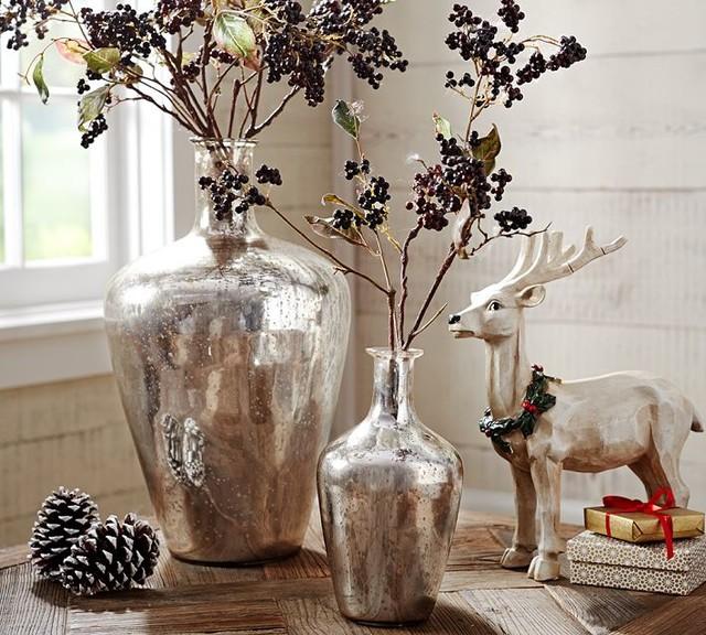 Antique Mercury Glass Bottles Traditional Vases