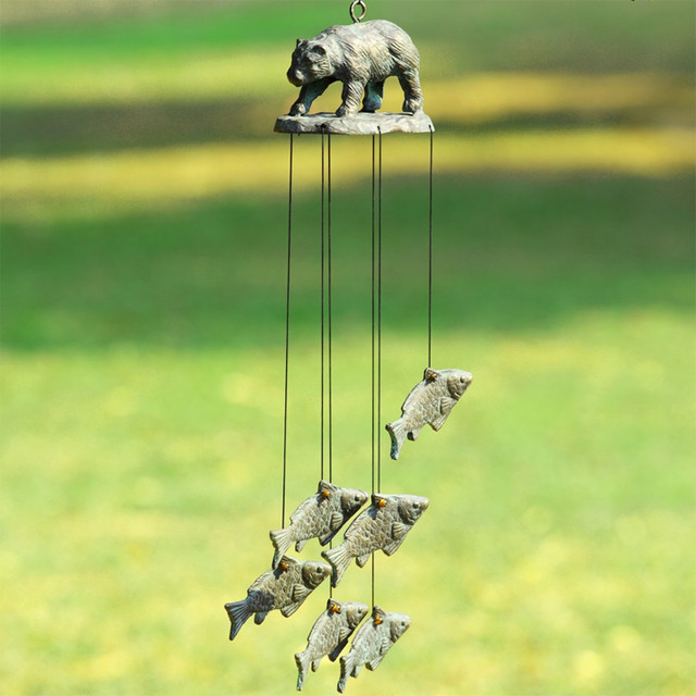 Bear and fish wind chime eclectic wind chimes for Fish wind chimes
