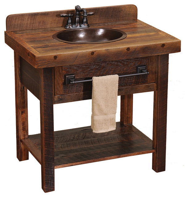 Barnwood Open Vanity with Towel Bar - Rustic - Bathroom Vanities And Sink Consoles - by Black ...