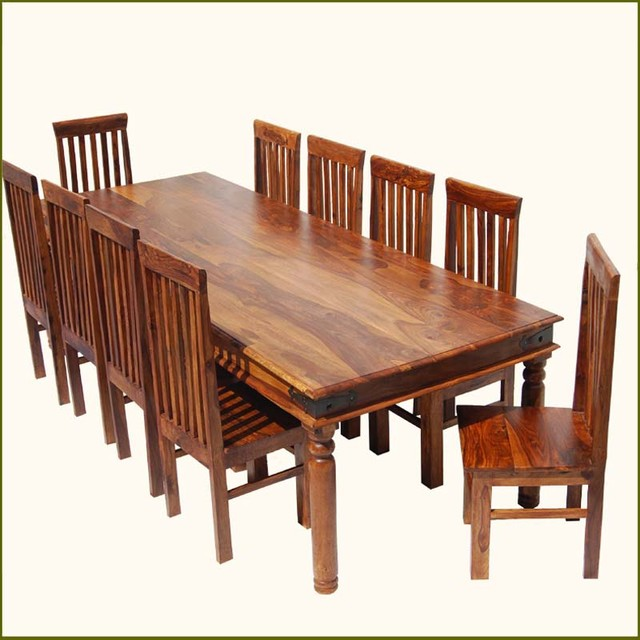 Rustic Dining Room Table Sets: Rustic Large Dining Room Table Chair Set For 10 People