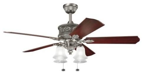 "52"" Corinth 52"" Ceiling Fan Antique Pewter midcentury-ceiling-fans"