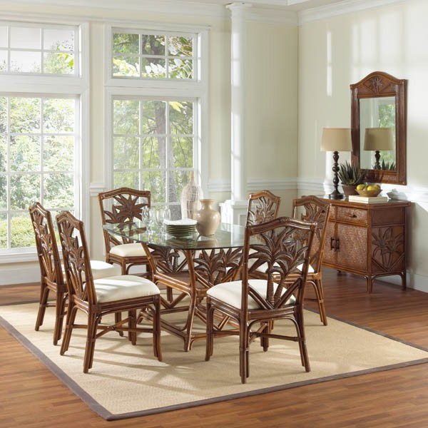Wicker Dining Room Sets: Cancun Palm Indoor 7 PC Rattan & Wicker Dinin