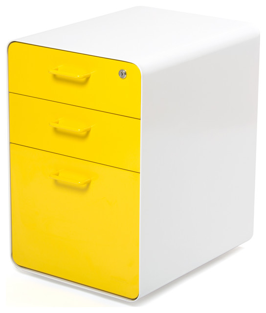 West 18th File Cabinet, White/Yellow - Modern - Filing ...