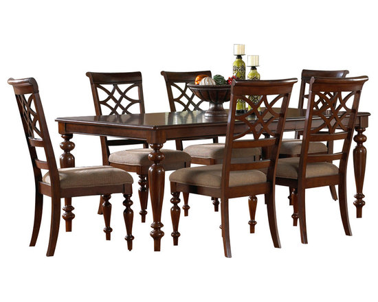 Standard Furniture - Standard Furniture Woodmont 7-Piece Leg Dining Room Set in Cherry - Woodmont Features graceful and soft shaping in a clean urban style. Striking lattice accents on chair backs are perfect for today's modern home. Rich design and elegant styling invite a relaxed setting in your home.