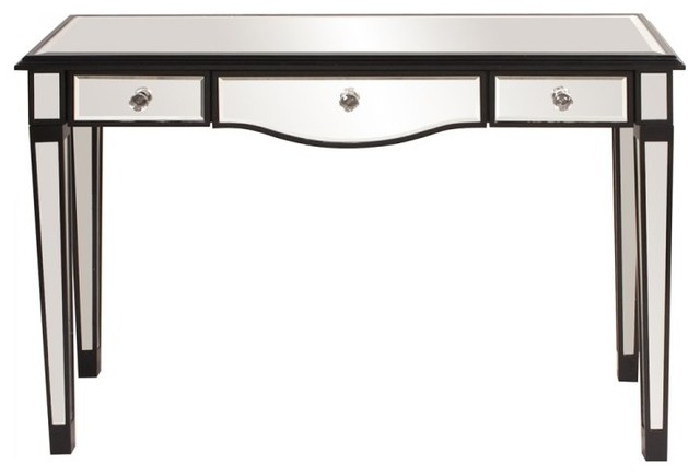 mirrored 3 drawer vanity table black