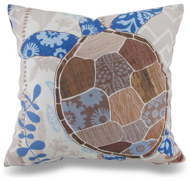 Beach Style Pillows : Barrier Reef Sea Turtle Ocean Themed Indoor / Outdoor Throw Pillow - Beach Style - Decorative ...