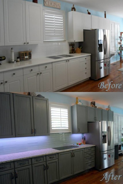 Grey blue glazed and distressed cabinets atlanta by for Blue distressed kitchen cabinets