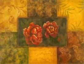 Red Flower Glass Abstract Canvas Prints modern-artwork