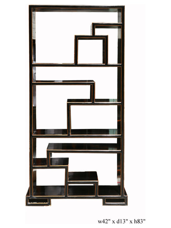Oriental Black Lacquer Display Cabinet Bookcase Curio Divider - This is a very solid piece of thick wood display cabinet. It is designed with a irregular size steps or different kinds of items. The black lacquer painted creates a smooth surface. The wood color trim is a bit of decor to this interesting bookshelf, display cabinet or room divider with its two sides finish.
