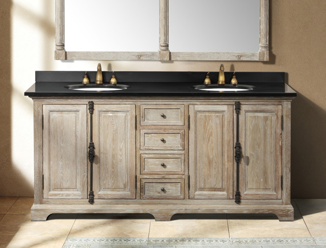 71 antique chic double bath vanity light muddy grey traditional bathroom vanities and - Double bathroom vanities granite tops ...