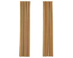 Red & Orange Modern Stripe Custom Drapery Single Panel modern-curtains