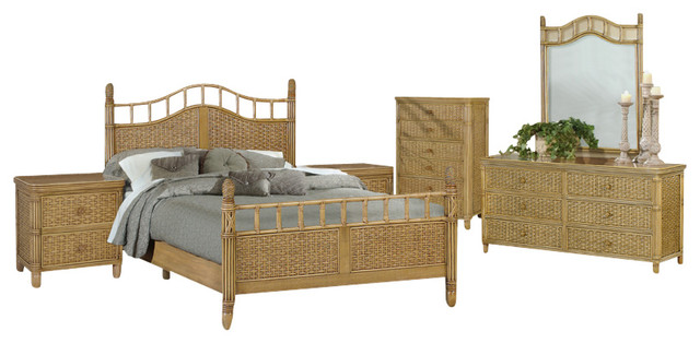 bali tropical 6 piece rattan and wicker bedroom furniture