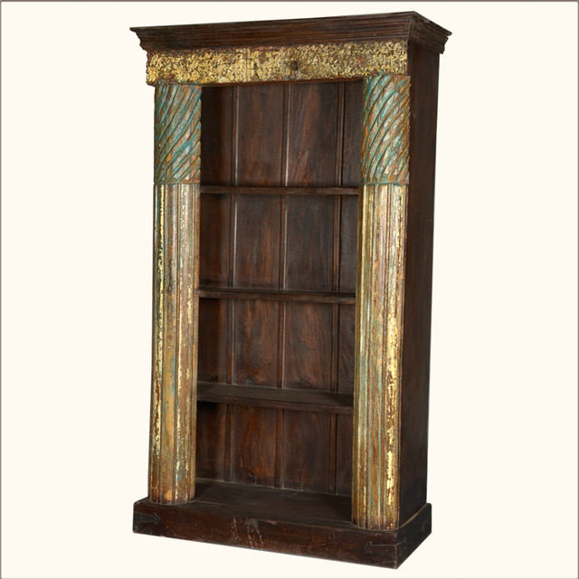 Golden Column Reclaimed Wood 4-Shelf Open Display Bookcase traditional-bookcases