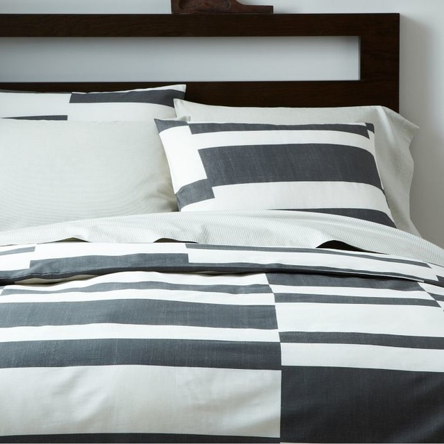 Offset Stripe Layered Bed Set contemporary-bedding