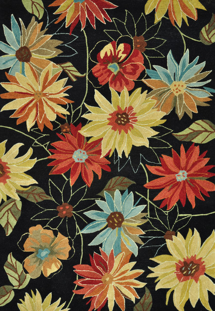 Hand tufted leighton black bright floral wool rug 7 39 6 x 9 for Bright floral area rugs