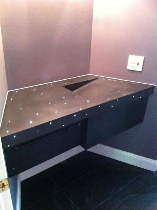 "Concrete Bathrooms - Concrete sink 3"" edge with integral sink and fiber optics, great night light!"