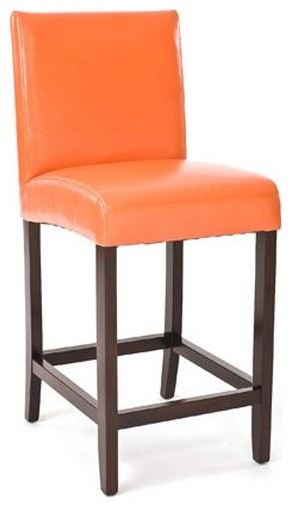 Zentique Leather Counter Stool Orange Contemporary Bar