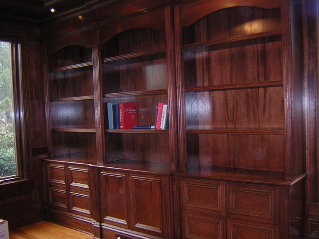 Mahogany Bookshelf and File Cabinet Unit for Home Library - Modern - Filing Cabinets - other ...