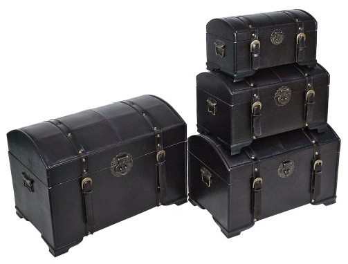 International Caravan Old World Replica Set of 4 Trunks-Dark Chocolate traditional storage boxes