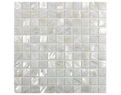 "White 1"" x 1"" Pearl Shell Tile contemporary-tile"