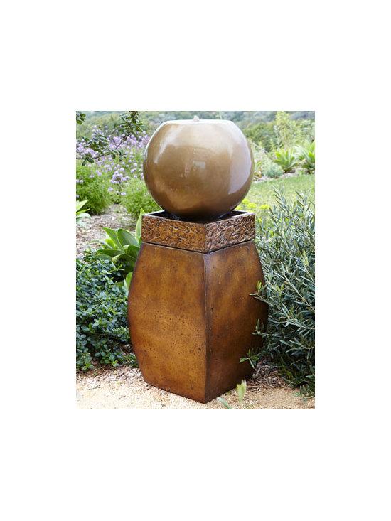 "Horchow - Zen Fountain - This modern fountain creates a peaceful ambiance in addition to enhancing the artistic quality of your outdoor space. Agglomerated stone. Includes fully functioning electric submersible fountain pump. 17.5""Sq. x 42""T. Imported. Boxed weight, approx..."